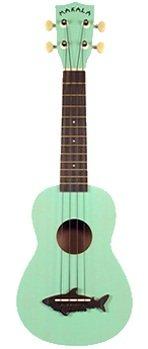 Kala Makala Shark Surf Green Gloss ukelele soprano tamaño de cuerpo de plástico de techo de ágata ágata de 348mm escala de cuello de puente de mástil de palisandro clavijas 12trastes de 34mm Sillín ancho de pre-traducido, abierta en forma de tibur...
