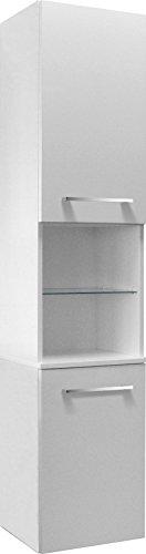 Fackelmann Hochschrank RONDO / Schrank zum Aufhängen / Badmöbel / Maße (BxHxT): ca. 35,5 x 169 x 32 cm / Korpus Farbe Weiß Hochglanz / Front Farbe Weiß Hochglanz / Breite 35,5 cm / Schrank fürs Bad