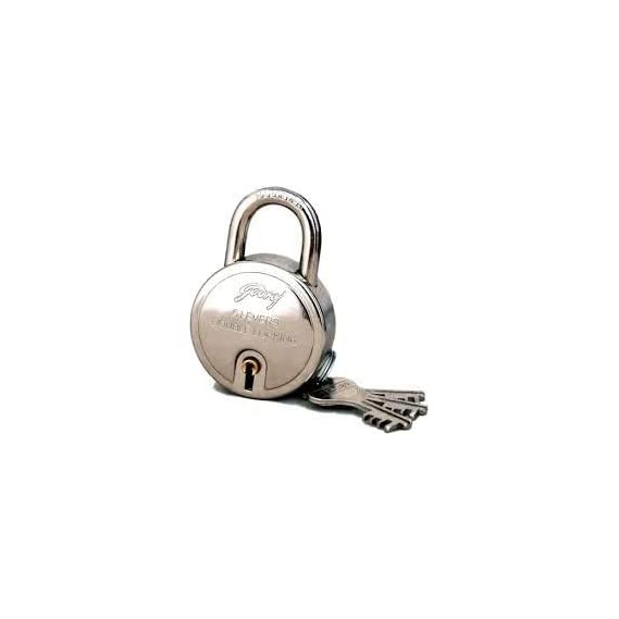 Godrej 8148 Steel Round Padlock Set (Silver, 4-Pieces)