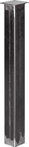 HOLZBRINK Tischbein Eckig, Vierkantprofil 80x80 mm, Höhe 100 cm, Rohstahl mit Klarlack, 1 Stück, HLT-14B-J-100-0000 - Quadratische Metall-tischbeine