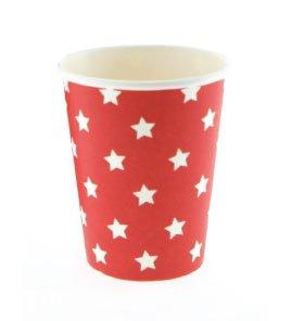 Sambellina 12 Schicke Papp-Becher in Rot mit Weißen Sternen