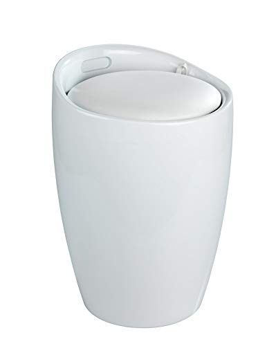 WENKO Wäschesammler, Wäschetruhe weiß - abnehmbares Sitzkissen Fassungsvermögen: 20 l, 35x50x35cm