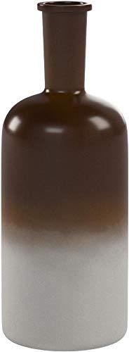 Relaxdays Deko Vase klein im angesagten Retro-Design, Bodenvase 33 cm, mit typischem Farbverlauf, in Flaschenform, HBT: 33 x 12,5 x 12,5 cm, braun / weiß
