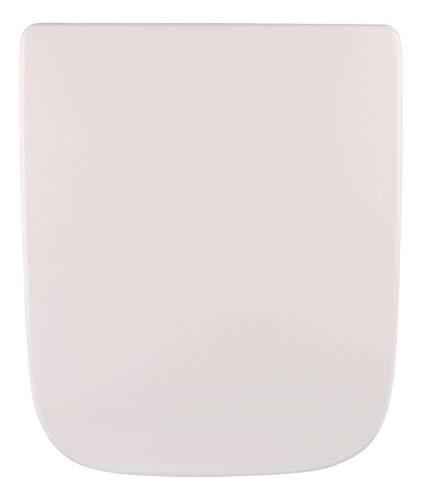 Calmwaters Antibakterieller WC Sitz für Keramag Renova Nr. 1 Plan mit Absenkautomatik, passend zu 202150 & 202160, rostfreie Edelstahl-Top-Fix-Befestigung, eckige Form, Duroplast, Weiß - 26LP3461