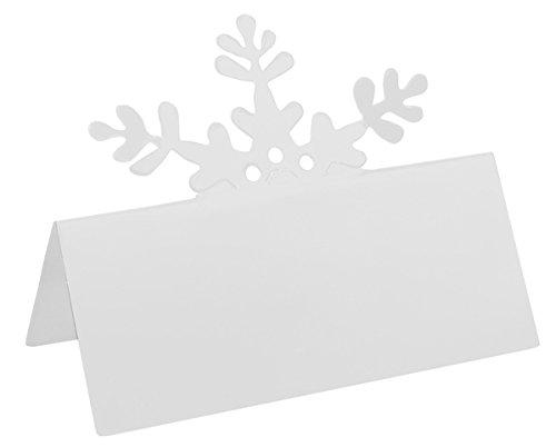 10 Marque-places flocons de neige blancs