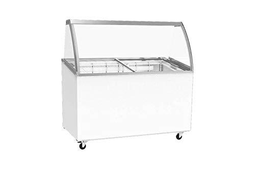 Mobile Eisvitrine |Speiseeisvitrine | Eistheke | Speiseeisverkaufsthek inkl 7 Kunststoffbehälter | mit Glasaufsatz und gebogener Frontscheibe Statische Kühlung auf Rollen 1314x694x1315mm
