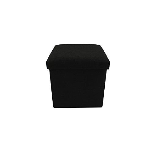 Rebecca mobili mobili rebecca pouff portaoggetti pouf quadrato poggiapiedi nero rivestito cotone apribile 29 x 31 x 31 (cod. re6160)