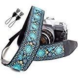 Vintage blau Gurt gewebt Kameragurt für alle DSLR Kamera - Bestickt universal Smart DSLR Gurt, Blumenmuster Schultergurt Gurt für Canon, Nikon, Sony, Fujifilm und Digitalkamera