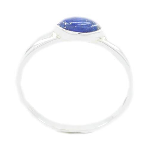 riyo Schmuck 925er Sterling Silber ansprechender echter Blauer Ring, Lapislazuli-Blauer Edelstein-Silberring