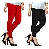 Lux Lyra Women's Pack Of 2 Churidar Leggings-Red & Black