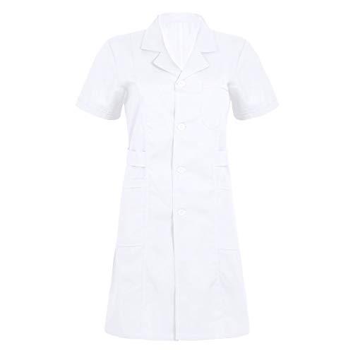 iiniim Damen Kittel Medizin Arztkittel Krankenschwester Kostüm Uniform Kleid Laborkittel Mantel Berufsbekleidung S-XXL Weiß L