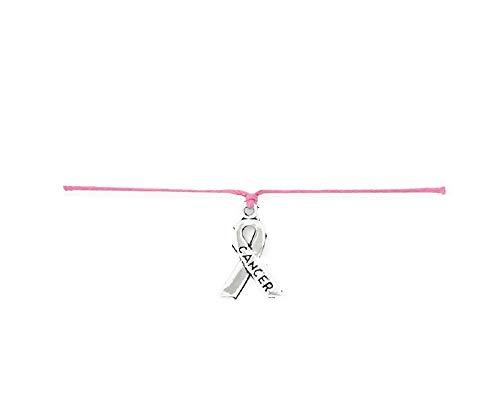 Armband, Octobra, Rosa, gegen Krebs, aus Baumwolle, gewachst, Rosa und silberfarbenes Band, Krebs und/oder Breast ()