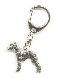 Bedlington Terrier Keyring Silver Finish