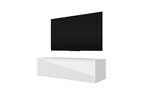 Selsey LANA - TV-Lowboard Fernsehschrank in Weiß mit Hochglanzfronten Hängend 140cm