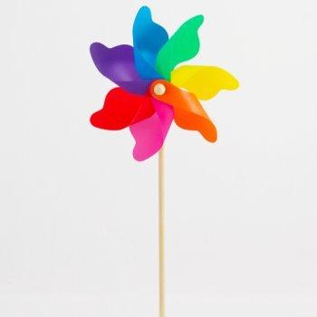 Windspiel – Moulin 22 Rainbow – UV-beständig und wetterfest – Windrad: Ø22cm, Standhöhe: 56cm – fertig aufgebaut inkl. Standstab (Rainbow) - 4