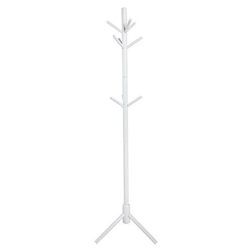 Perchero Percha, Ropa Perchero de Madera Perchero Chaqueta de Pie, con 9 Ganchos Triángulo de Apoyo a la Recepción Sala Dormitorio, 176 cm de Altura (Blanco)