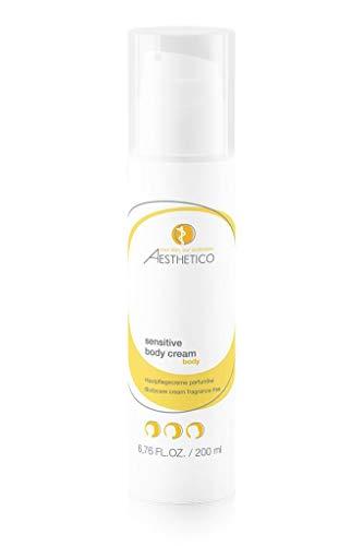 AESTHETICO sensitive body cream - 200 ml - Parfumfreie Creme für trockene sowie zu Neurodermitis neigende Haut, bildet atmungsaktiven Schutzfilm