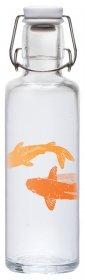 soulbottle 0,6l Trinkflasche aus Glas ? verschiedene Designs, Made in Germany, vegan, plastikfrei, Glastrinkflasche, Glasflasche (Just breathe ? Lotosblume)