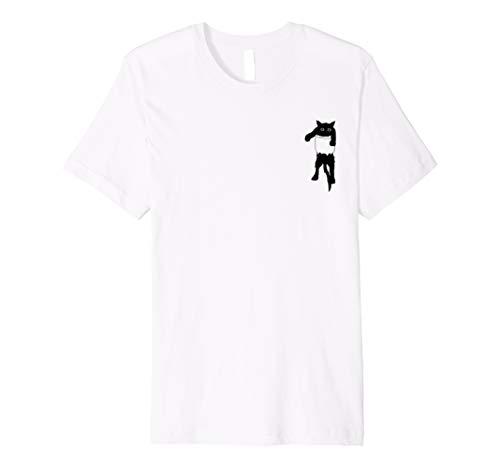 Pocket Black Cat T-Shirt Geschenk für Kinder (Halloween Für Cute Cat-look)