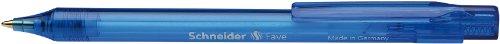 Schneider Fave Kugelschreiber (Druckmechanik, M) 50er Packung blau transparent