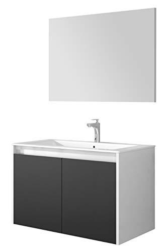 Miroytengo Mueble baño o Aseo Gali con Espejo Moderno Color Blanco Brillo y Gris 80x45x48 cm Lavabo PMMA Incluido