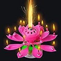 elegantstunning 3 Velas de Flores de Loto Musicales Fiesta Romántica Sorpresa Luz de Regalo para Cumpleaños (Azul + Amarillo + Rosa)