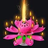 BeesClover 3 Velas de Flores de Loto Musicales Fiesta Romántica Sorpresa Luz de Regalo para Cumpleaños (Azul + Amarillo + Rosa)