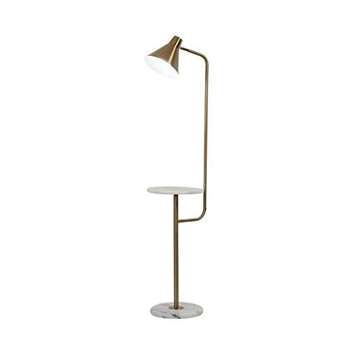 Luxus Stehlampe, Stehend Hochmast Licht mit Marmor Regale Nachttisch for Schlafzimmer Wohnzimmer Studie Lesen, Antik Messing/Gold -