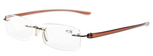 Eyekepper occhiali da lettura senza montatura in plastica occhiali presbite lenti piccoli per uomini donne aste marrone diottria +3.50