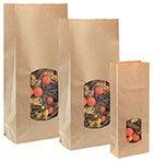 1 Verpackungseinheit (100 Stück) Blockbodenbeutel mittel<br/>für 1 kg Inhalt<br/>Fb. natur<br/>103 x 57 x 290 mm<br/>mit Fenster