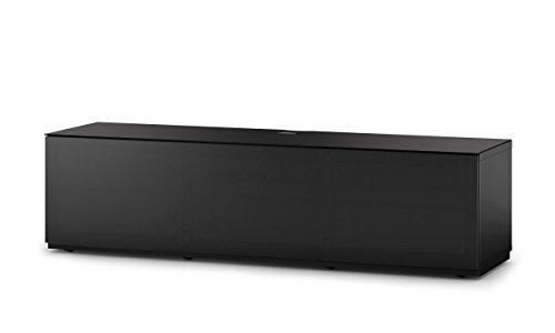 Sonorous STA 260T-BLK-BLK-BW hängende TV-Lowboard mit Sockel, schwarzer Korpus, obere Fläche, gehärtetem Schwarzglas und Klapptür mit schwarzem Akustikstoff