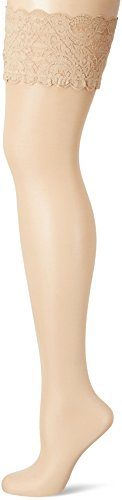 Wolford Damen Strumpfhose Satin Touch 20 Stay-Up, 20 DEN, Beige (Cosmetic 4273), X-Small