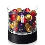 Nespresso Round Capsule Dispenser , Capacity 70 Capsules Not Included , Premium Collection , New.Glass Bowl On Birch Wood Base,New