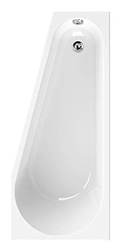 Calmwaters Raumsparende Eckbadewanne 160x70 cm, Acrylwanne Pitylu, platzsparende Badewanne in linker Ausführung, Maße 160 x 70 cm, Eck-Badewanne in Weiß - 02SL3328