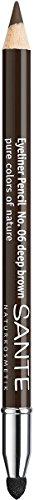 SANTE Naturkosmetik Kajal Eyeliner No. 06 deep brown, Kajalstift, Farbintensive cremige Textur, Inklusive Smudger-Applikator, Vegan, 1,3g