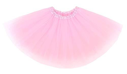 Mädchen Kostüm Ballerina Prima - Ksnrang Damen Tütü Rock Minirock 3 Lagen Petticoat Tanzkleid Dehnbaren Mini Skater Rock Erwachsene Ballettrock für Party Halloween Kostüme Tanzen (Rosa)