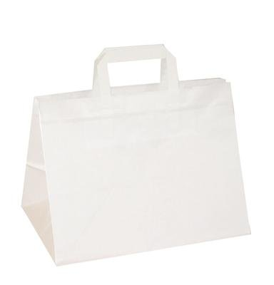 250 Papiertragetaschen weiß 32+22x24cm
