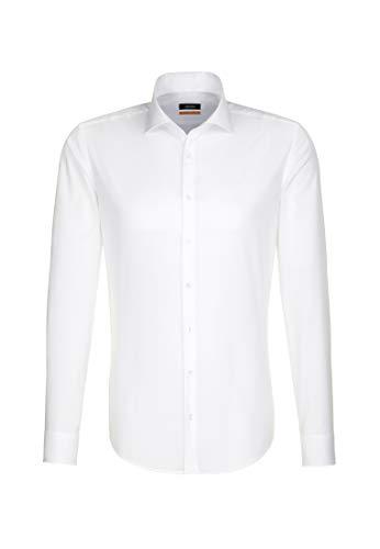 Seidensticker Seidensticker Herren Business Hemd Slim Fit- Bügelfreies, schmales Hemd mit Kent-Kragen - Langarm - 100% Baumwolle Kragenweite: 36 cm Weiß