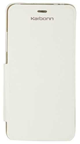 iCandy White Synthetic Leather Flip Cover For Karbonn A99  available at amazon for Rs.99
