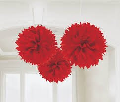 Madcaps Fluffy Decoration - Red (Set of 3) 8