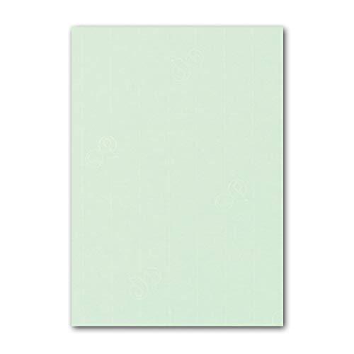 ARTOZ 50x Briefpapier - Mint DIN A4 297 x 483 mm - Edle Egoutteur-Rippung - Hochwertiges Tonpapier Weihnachtsbriefpapier - Bastelpapier Designpapier Urkundenpapier