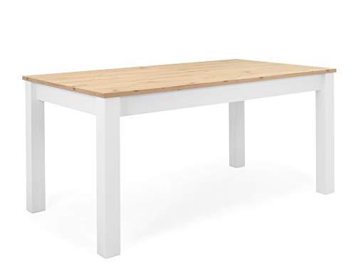 expendio Esstisch Oslo 50 weiß Artisan Eiche 160(215) x90x75 cm Esszimmertisch Speisetisch Esszimmer Küche Landhausmöbel Landhausstil
