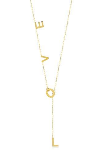 Gelin Damen Halskette aus 14 Karat - 585 Echt Gelbgold Kette mit hängende LOVE - Kette 45 cm