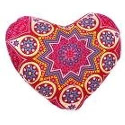 hkfv Unique Creative forma de corazón patrón de Bohemia Moda Estilo Indio Mandala de almohada de corazón de flores Casa Cojín almohadas funda cojines 43*35cmF Talla:A;25*30cm B;43*35cm