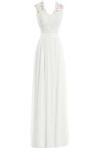 Missdressy Damen Neu Elegant Chiffon Lang Spitze Applikation U-Ausschnitt Aemellos Abendkleid Partykleid Weiß