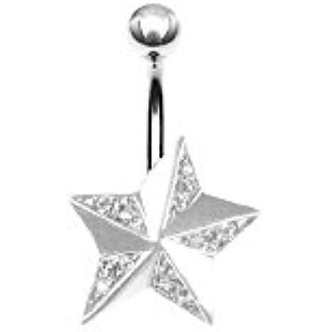 Karisma Ombligo plata 925 Piercing tatuaje estrella con cristales Swarovski - SBB42 blanco