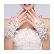 Sunshinesmile Exquisite Fingerless Rhinestone Bridal Gloves Love Prom Gloves by Sunshinesmile