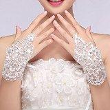 Sunshinesmile Exquisite Fingerless Rhinestone Bridal Gloves Love Prom Gloves by Sunshinesmile