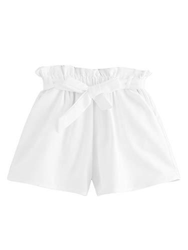 DIDK Damen Locker Shorts Elastischer Bund Casual Sommerhose Sommer Short mit Schleife Gürtel Einfarbig Kurz Hose Weiß S -