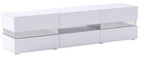 Meuble TV Armoire Basse Flow en Blanc Mat/Blanc laqué Haute Brillance avec éclairage LED